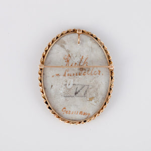 Antique 14K Gold Painted Porcelain Pin