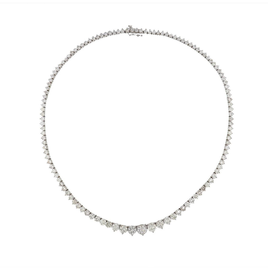Estate 18K White Gold Graduated Diamond Necklace