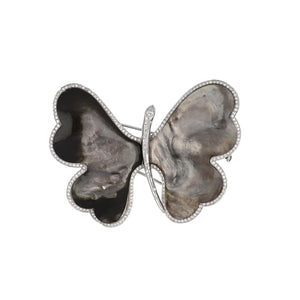 Estate Ambrosi 18K White Gold and Gray Mother-of-Pearl Butterfly Brooch with Diamonds