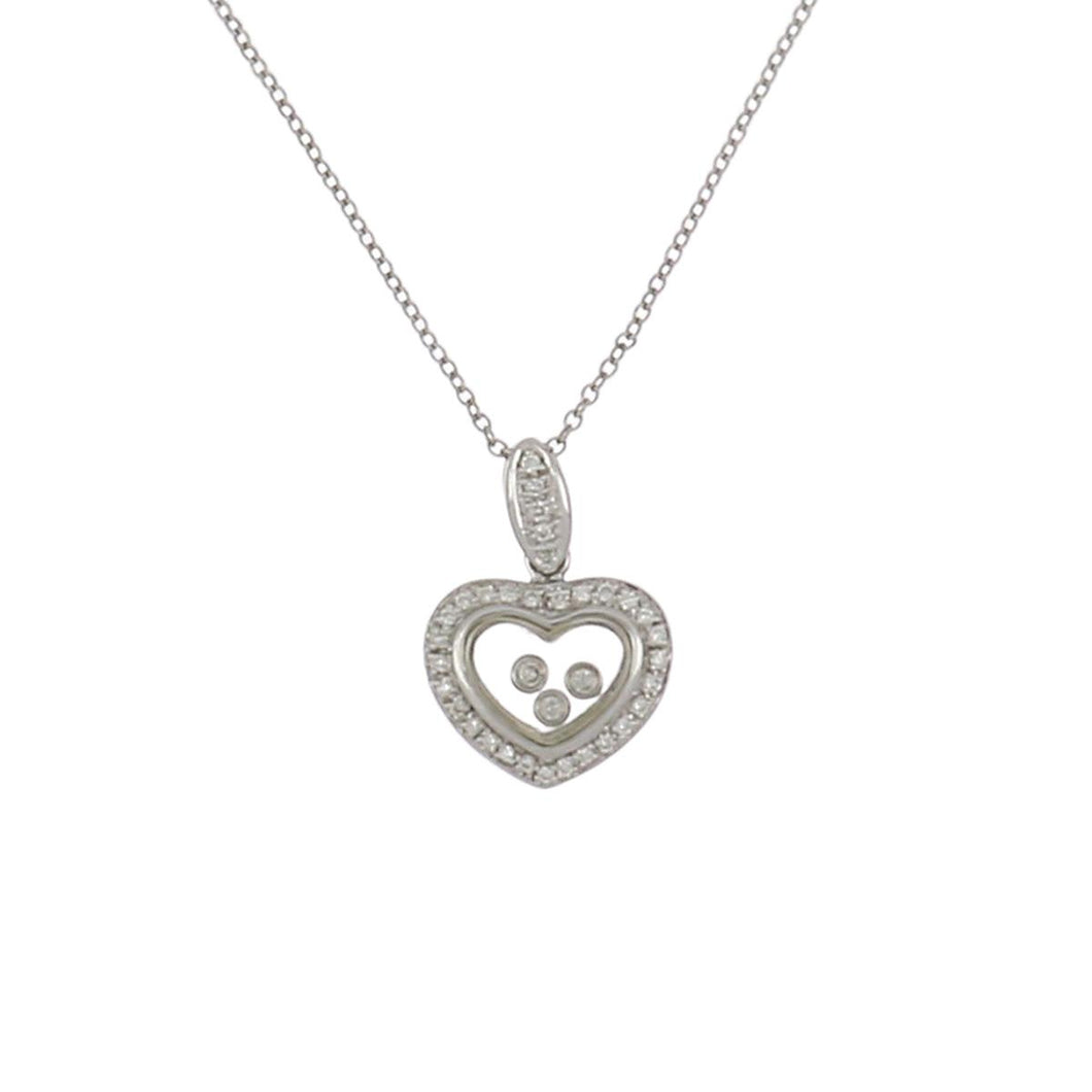 Estate 14K White Gold Diamond Heart Pendant Necklace with Floating Diamonds