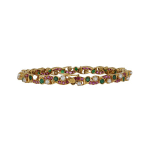 Estate 22K Gold Bracelet with Pearls, Emeralds and Rubies