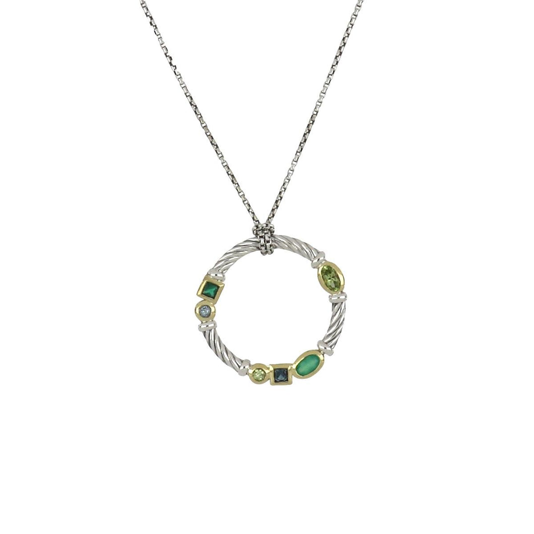 David Yurman Sterling Silver and 18K Gold Pendant Necklace with Gemstones