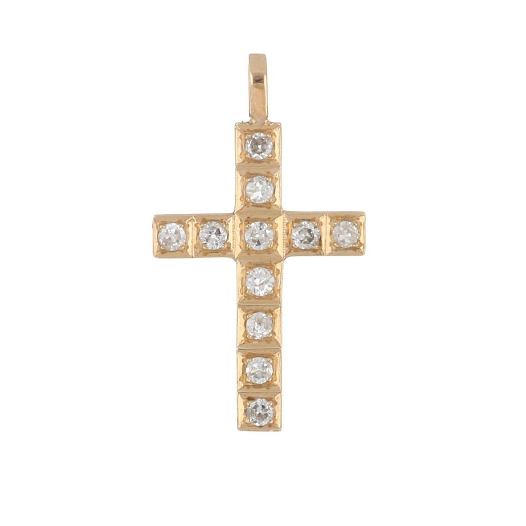 Estate 14K Rose Gold Diamond Cross Pendant
