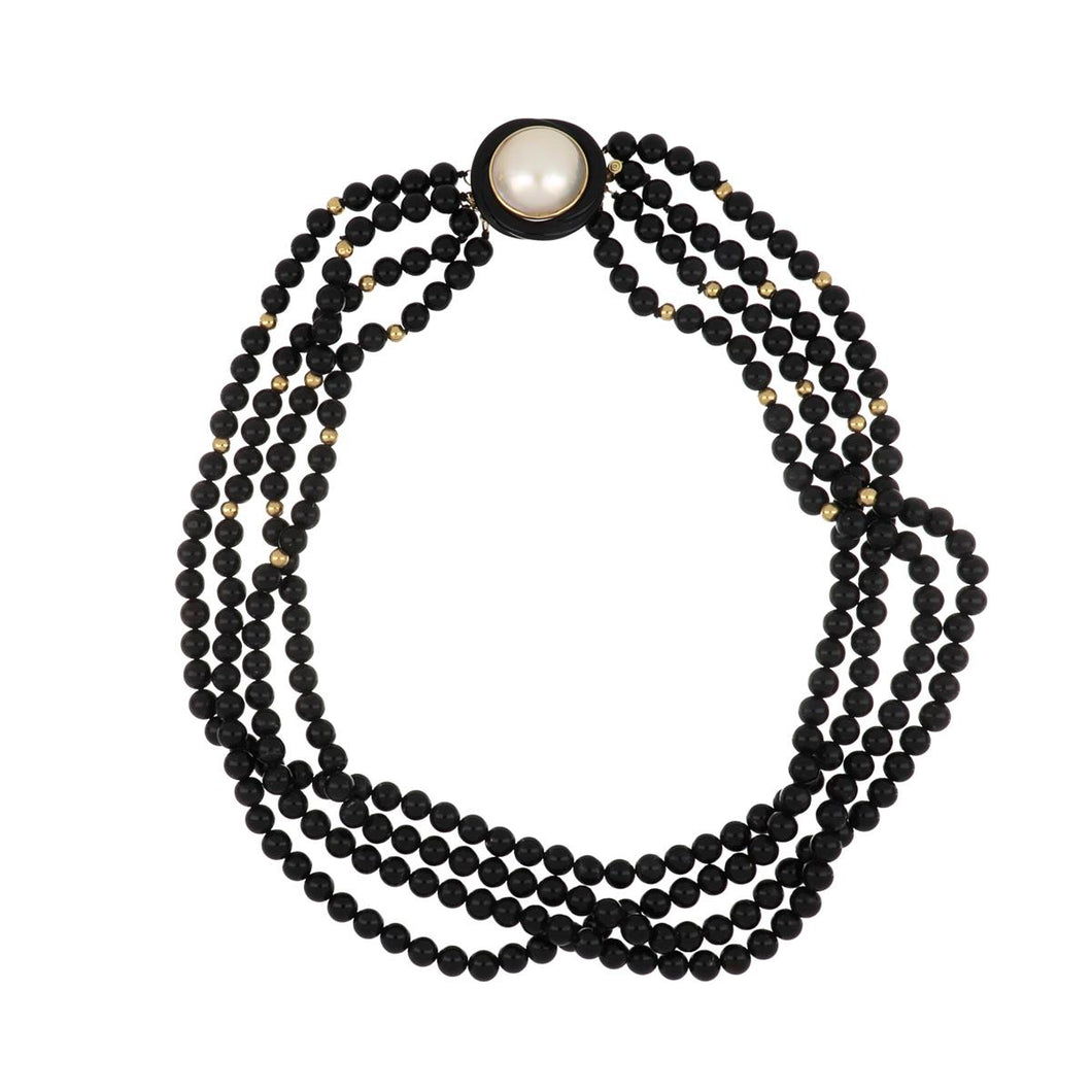 Estate 14K Gold Onyx and Mother-of-Pearl Bead Necklace