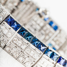 Load image into Gallery viewer, Art Deco Platinum Sapphire And Diamond Bracelet