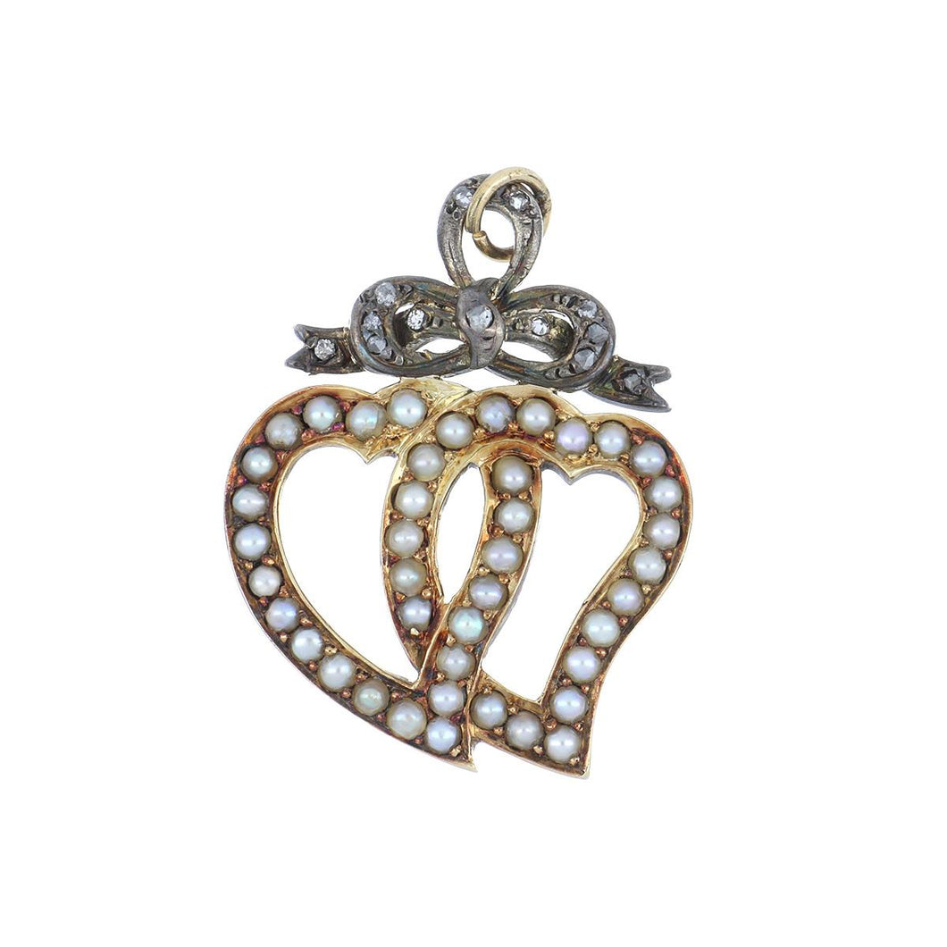 Antique Georgian Silver-Topped 18K Gold Witches Heart Pendant with Split Pearls and Diamonds