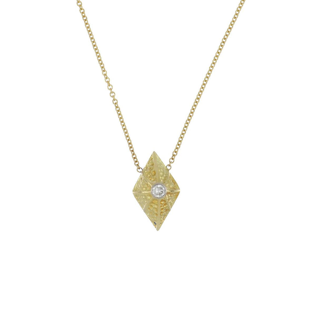 18K Gold Textured Pendant Necklace with Diamond