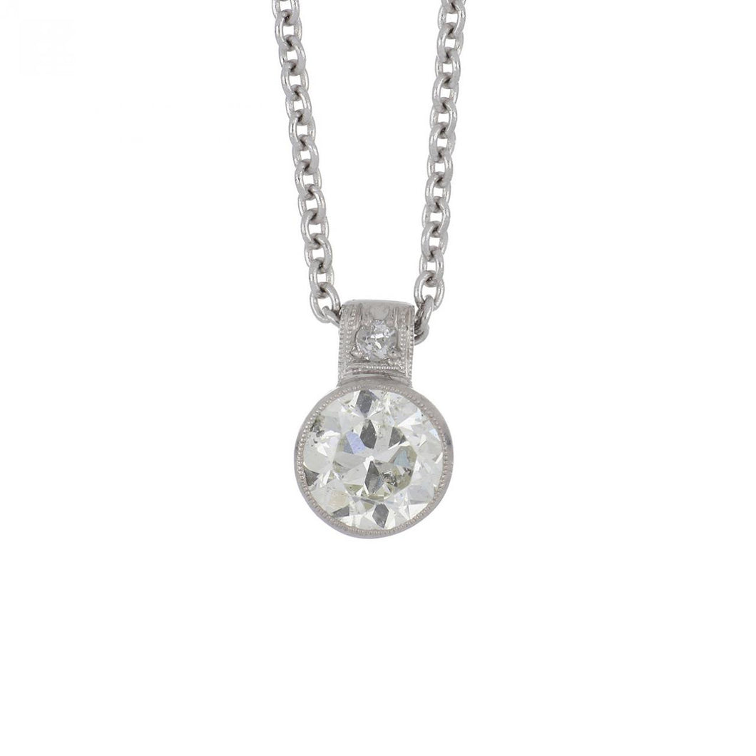 Art Deco Platinum Old European-Cut Diamond Pendant Necklace