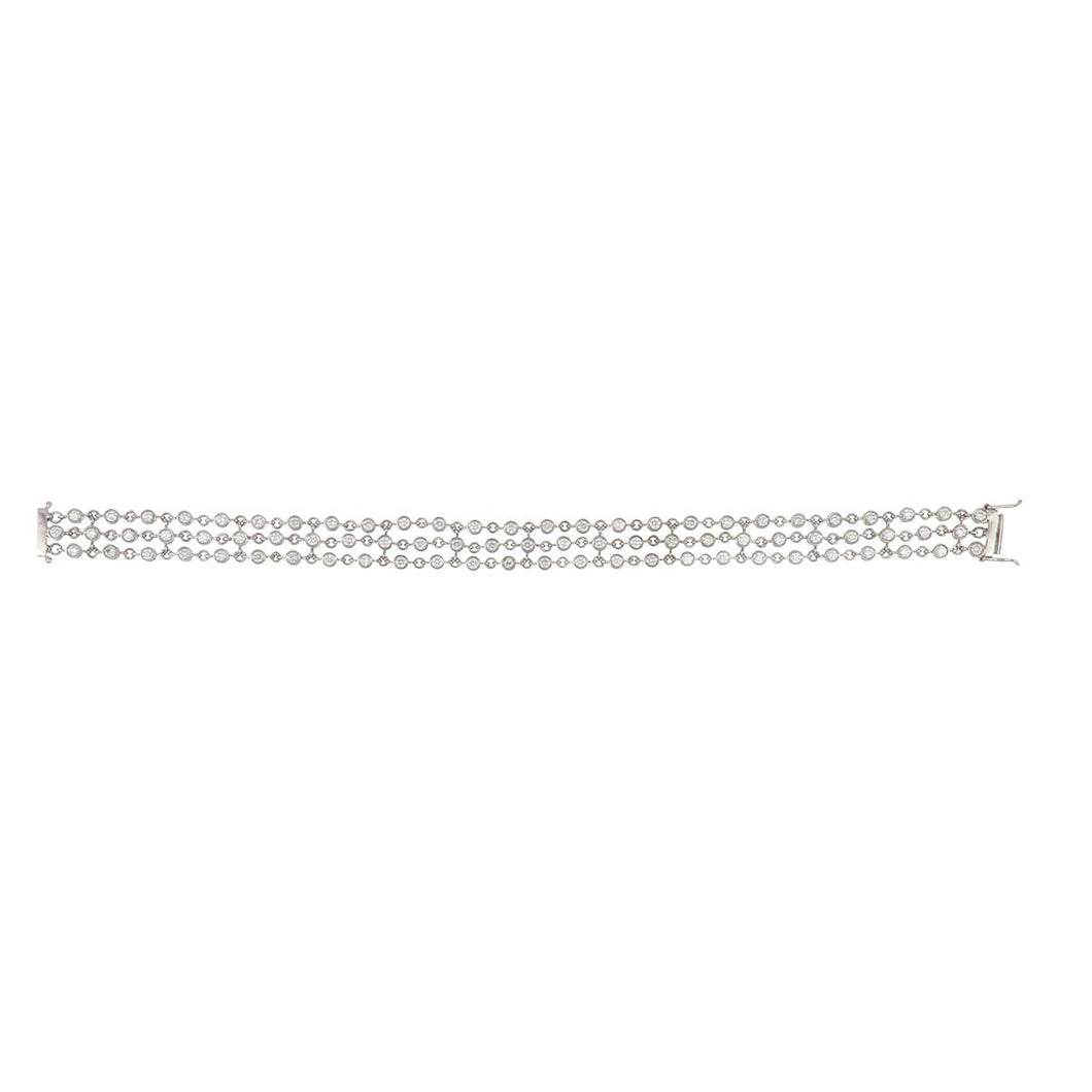 Estate 18K White Gold Diamond Chain Bracelet
