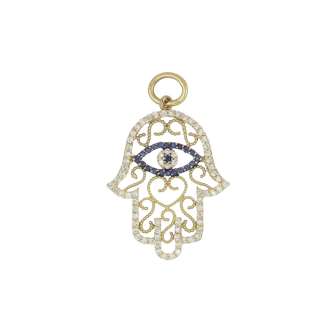 Estate Aaron Basha 18K Gold Openwork Hamsa Hand Pendant with Sapphires and Diamonds