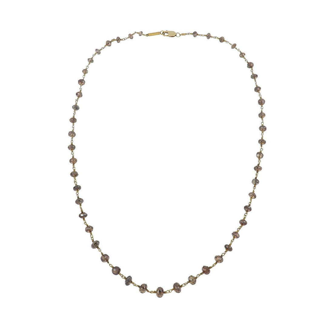 Estate 18K Gold Fancy Brown Diamond Bead Necklace with 14K Gold Clasp