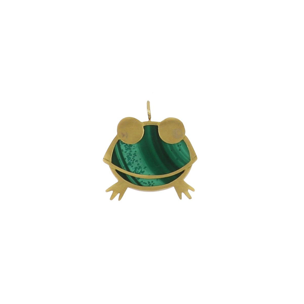 Estate 18K Gold Malachite Frog Pendant