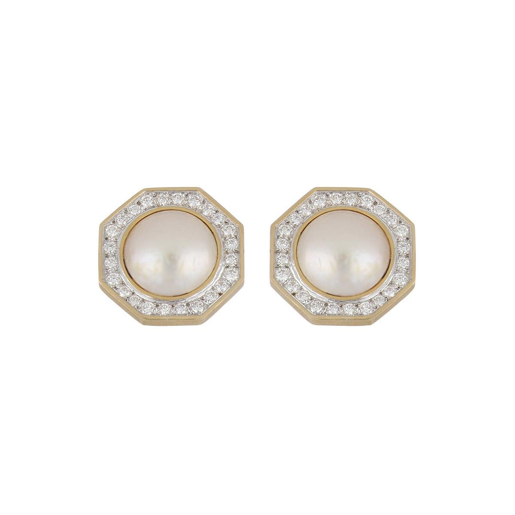 Estate 18K Gold Mabé Pearl and Diamond Earrings