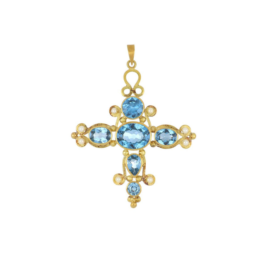 18K Gold Blue Topaz and Pearl Cross