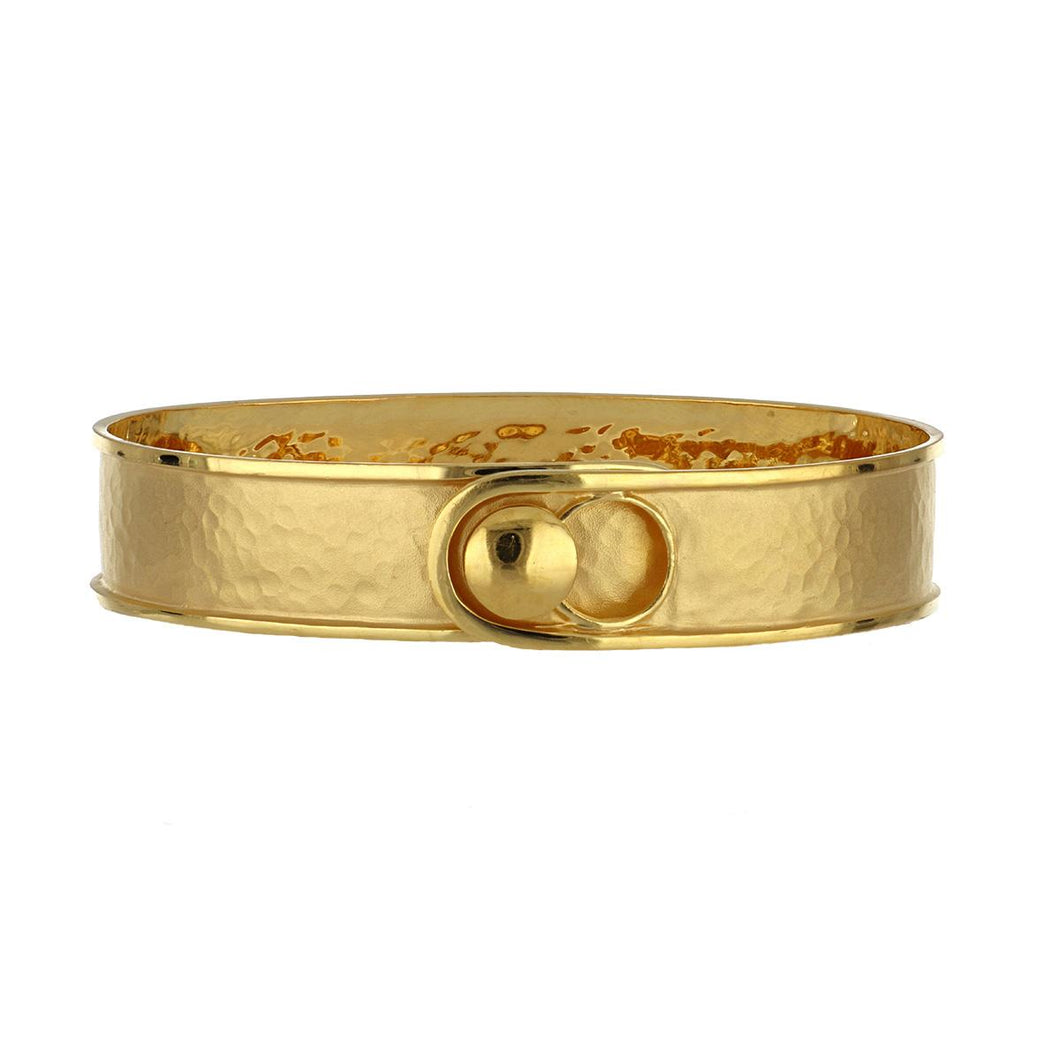 Estate 14K Gold Matte Finish Bangle Bracelet with Polished Edge
