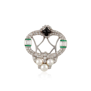 Cultured Platinum Pearl Onyx and Diamond Brooch