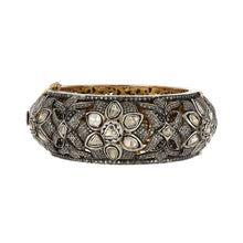 Load image into Gallery viewer, 14K Gold and Sterling Silver Oversized Floral Bangle with Rose-Cut Diamonds