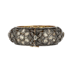 14K Gold and Sterling Silver Oversized Floral Bangle with Rose-Cut Diamonds