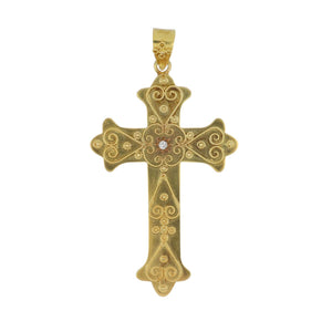 Estate 14K Gold Twisted Wirework Cross with Diamond