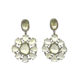 14K Gold and Sterling Silver Prasiolite Cobblestone Earrings with Diamonds