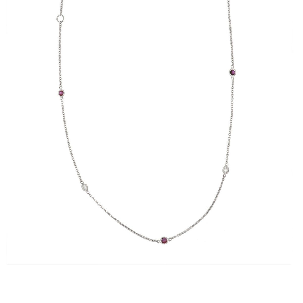 Estate 18K White Gold Diamond and Ruby Diamonds-By-The-Yard Necklace