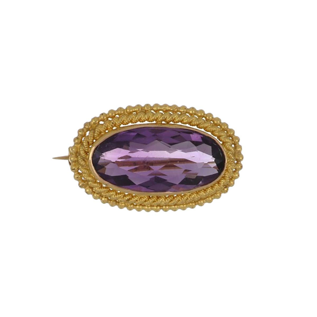 Estate 14K Gold Oval Amethyst Brooch
