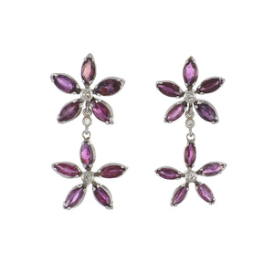 Estate 18K White Gold Marquise Ruby Flower Double Drop Earrings with Diamonds