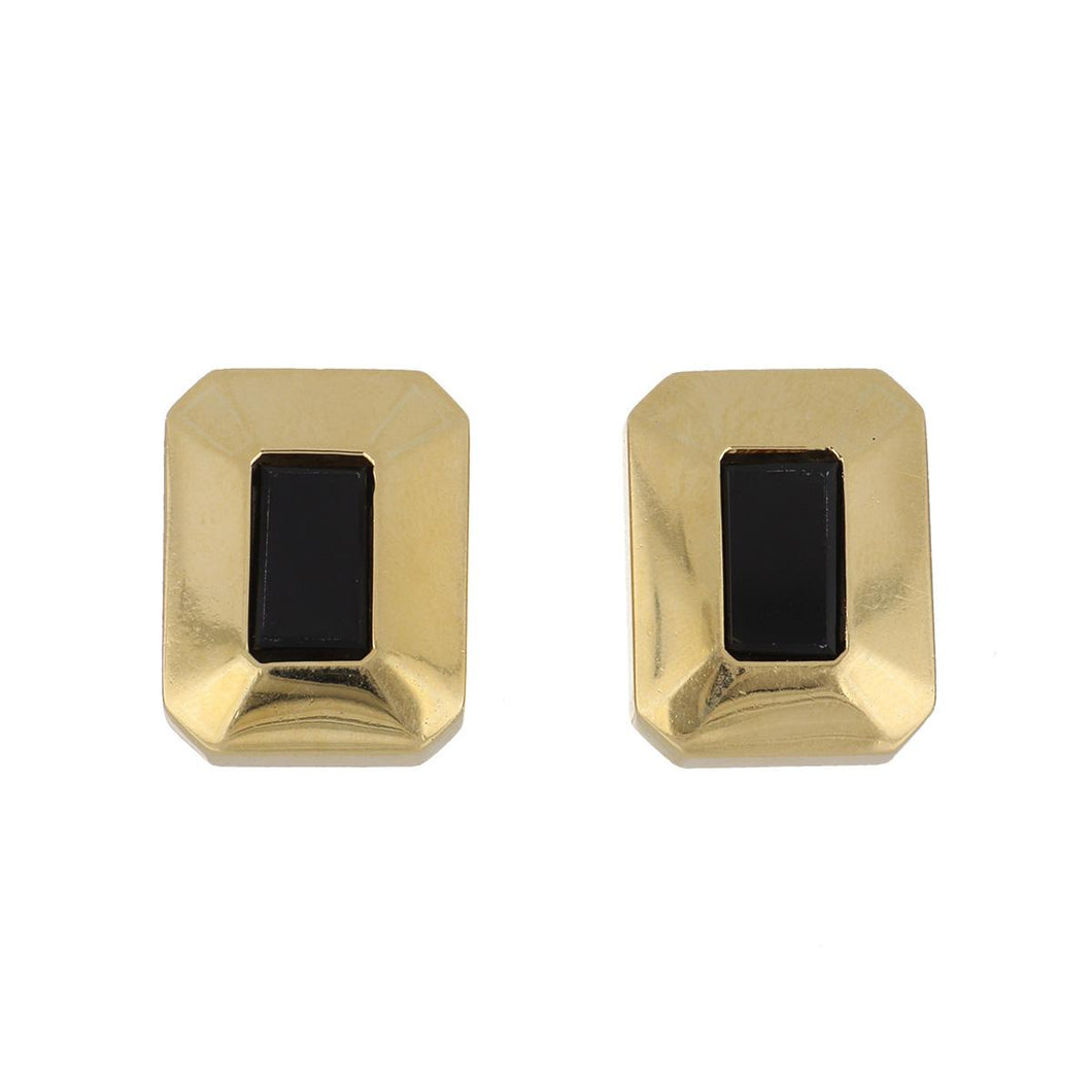 Estate 18K Gold Earrings with Onyx Centers