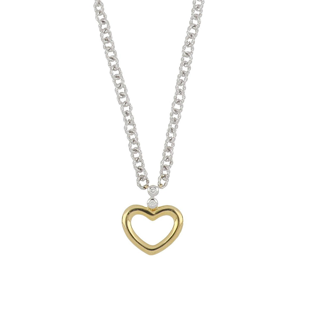 Estate Charriol Stainless Steel and 18K Gold Heart Pendant Necklace with Diamonds