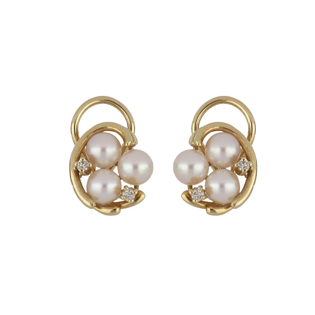 Estate 18K Gold Pearl Cluster Earrings