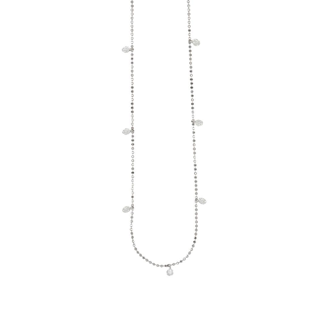 14K White Gold Diamond By The Yard Necklace