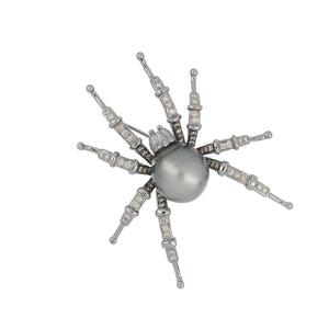 Estate 14K White Gold Tahitian Pearl and Light Brown Diamond Spider Brooch