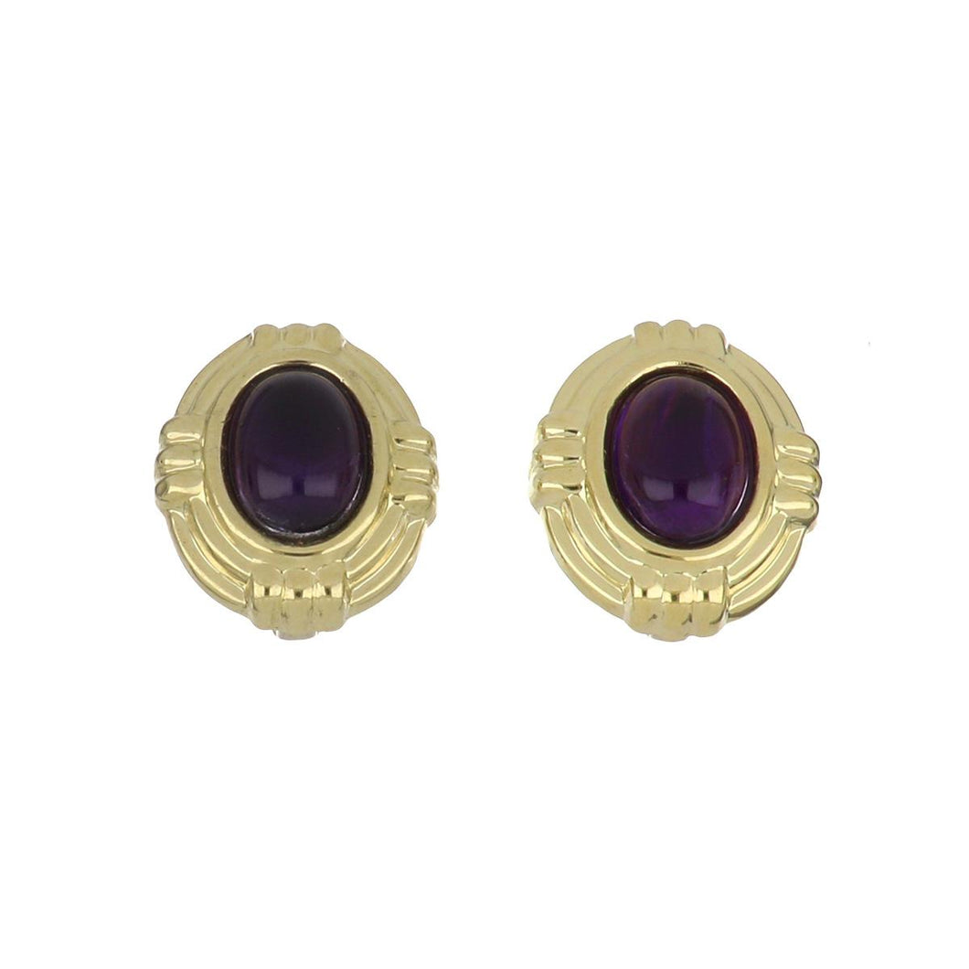 Estate 18K Gold Cabochon Amethyst Button Earrings