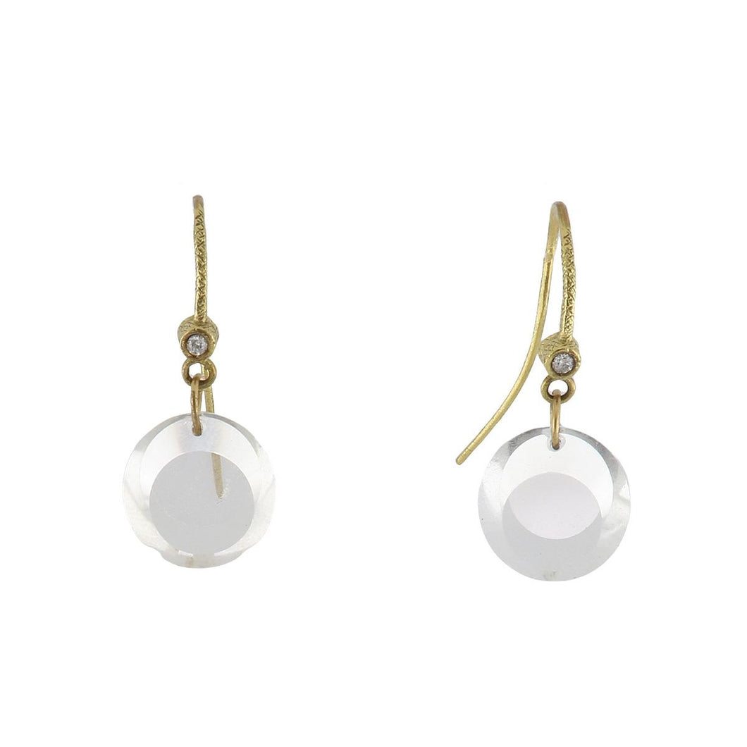 Dominique Cohen 18K Gold Quartz Drop Earrings with Diamonds
