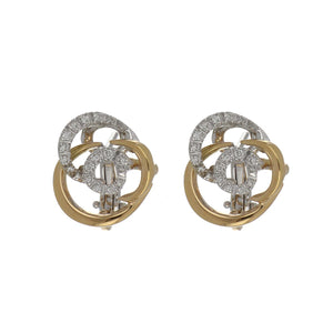 Damiani 18K Two-Tone Gold Mini Rose Collection Earrings with Diamonds