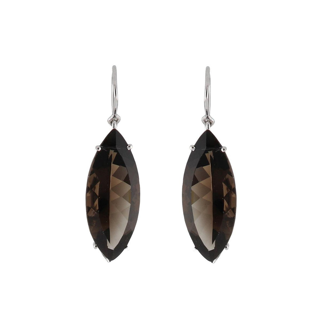Estate 18K White Gold Marquise Smoky Topaz Drop Earrings