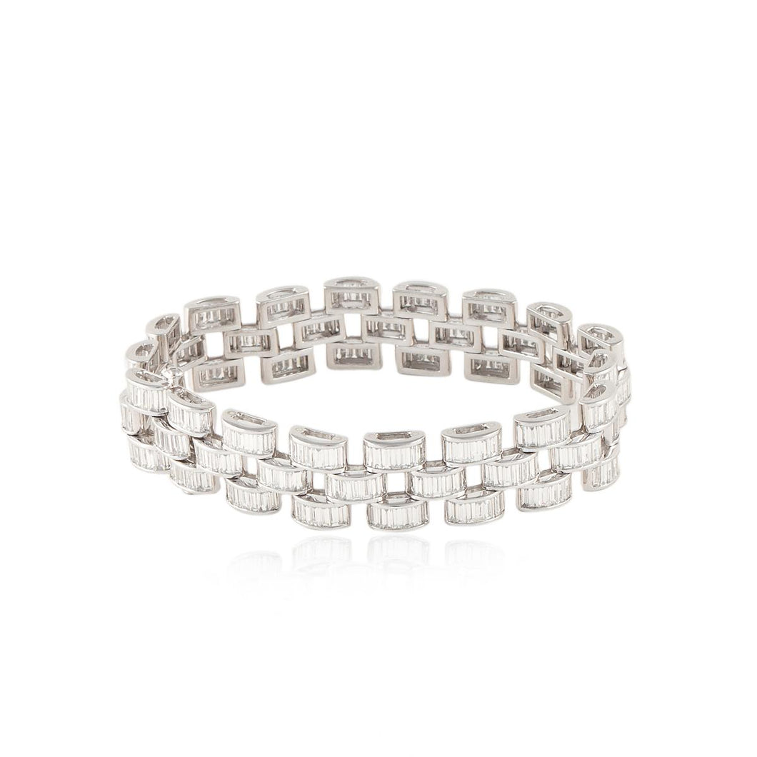 Estate Platinum Baguette Diamond Bracelet