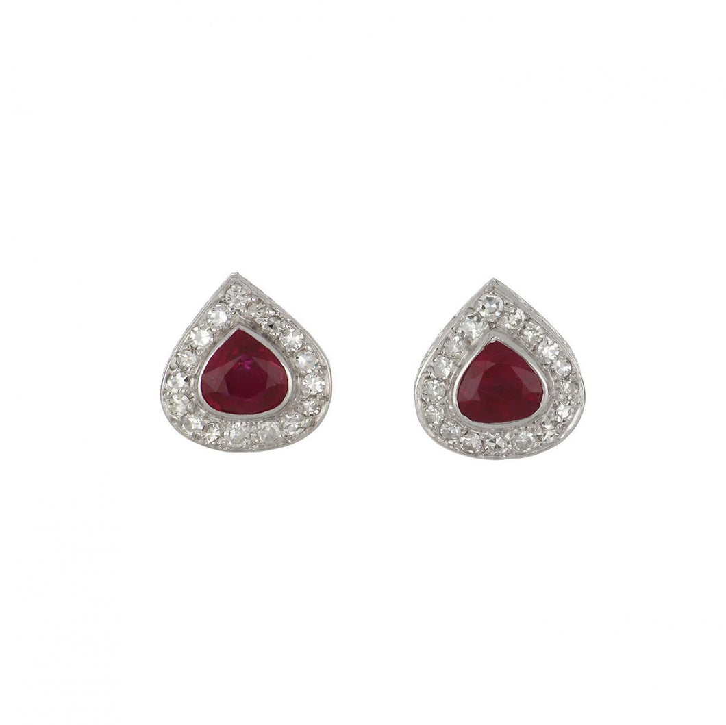 Art Deco Platinum Pear Shape Ruby and Diamond Cluster Earrings