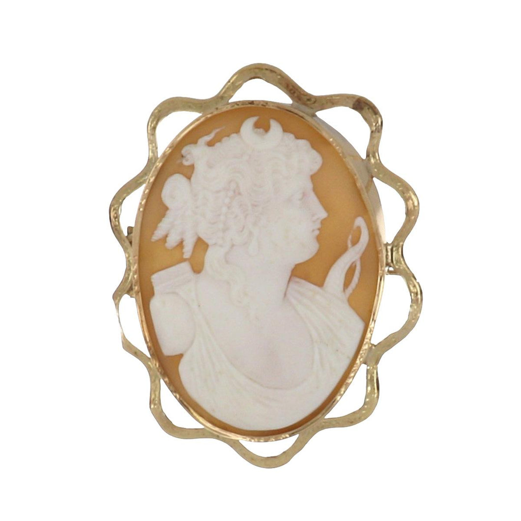 Antique Victorian 14K Gold Shell Cameo of Diana