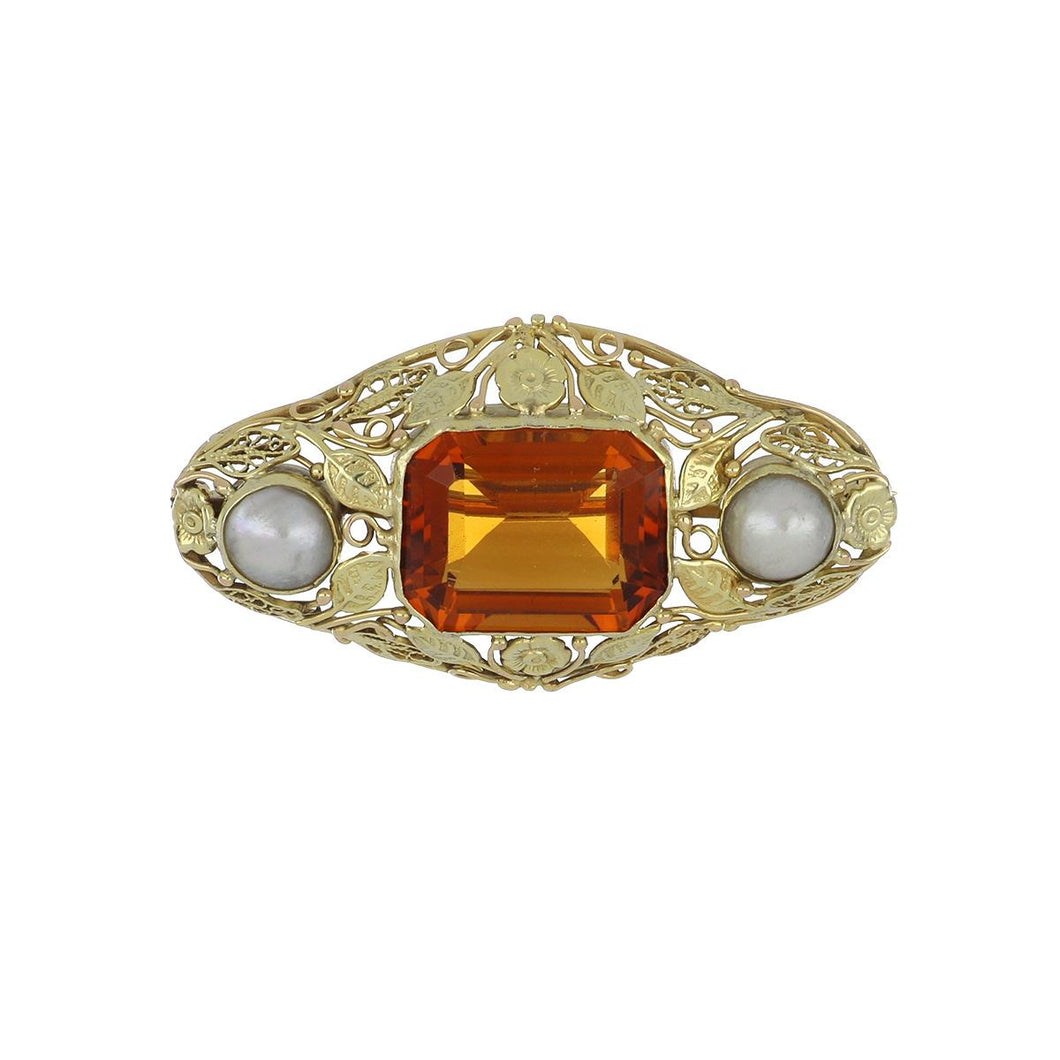 Arts & Crafts 14K Gold Citrine and Pearl Pin