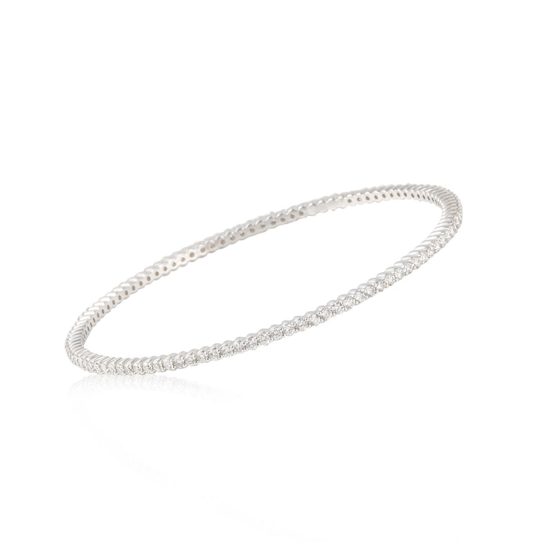 Estate 18K White Gold Diamond Bangle