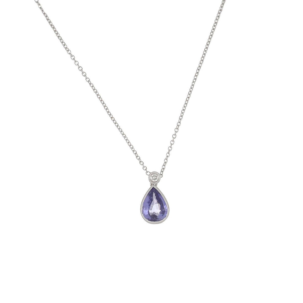 Estate 18K White Gold Purple/Blue Sapphire and Diamond Pendant Necklace