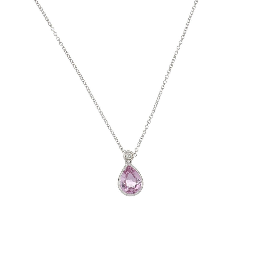 Estate 18K White Gold Pear Shape Pink Sapphire and Diamond Pendant Necklace