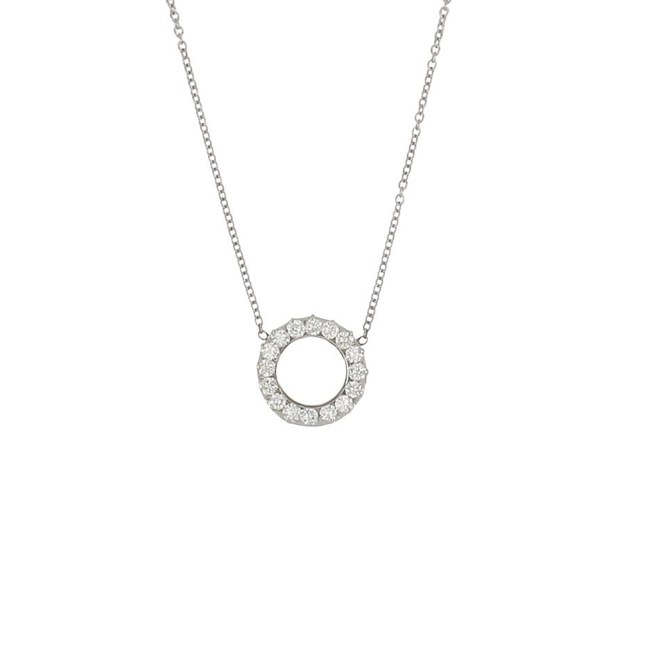 Bespoke 14K White Gold Diamond Circle Pendant Necklace