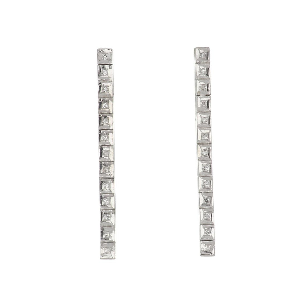 Bespoke 14K White Gold Diamond Line Drop Earrings
