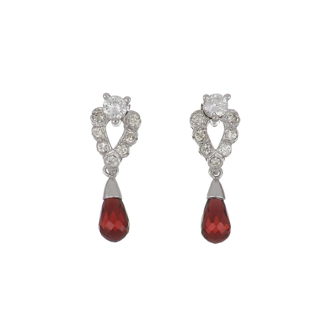 14K White Gold Diamond Briolette Garnet Drop Earrings