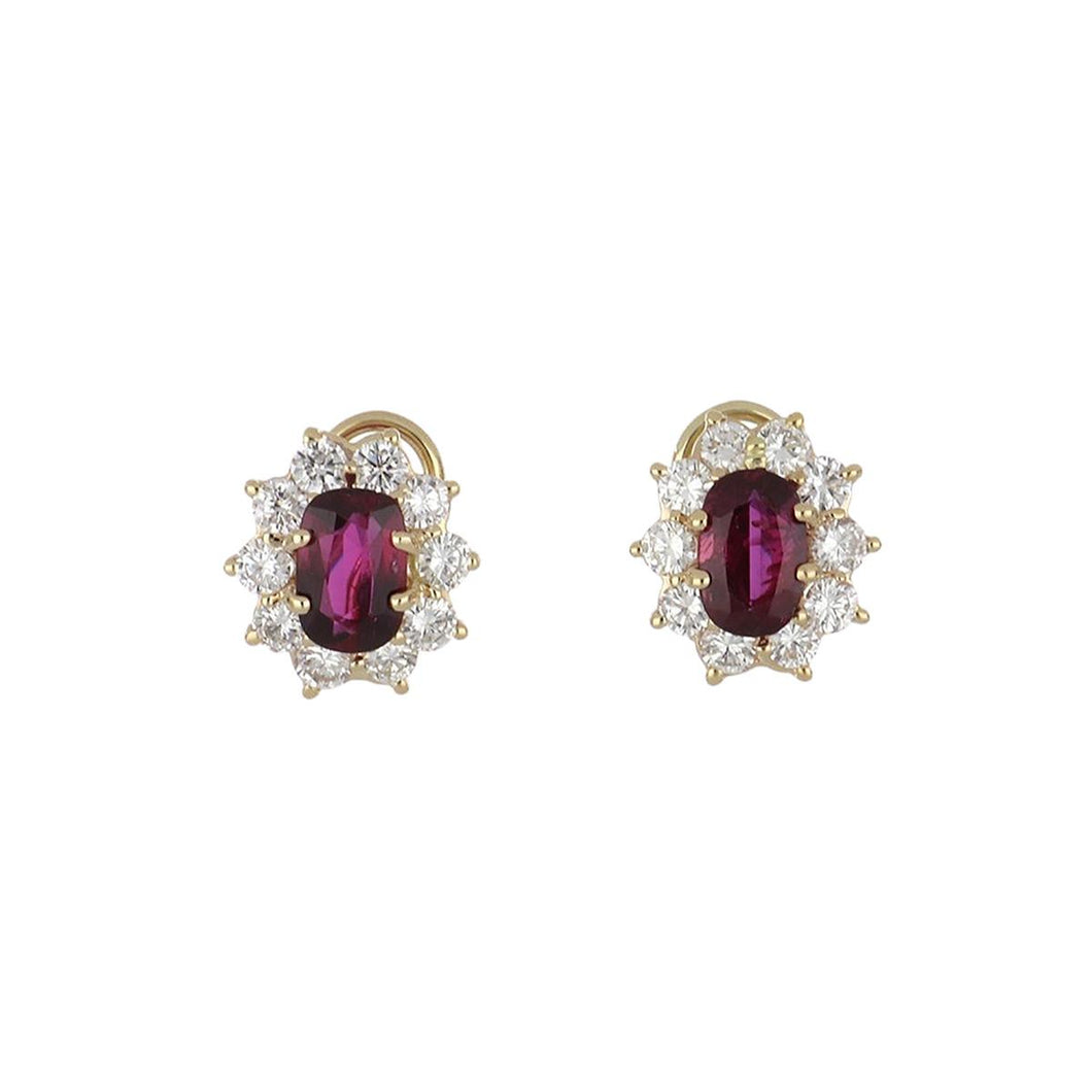 Estate 14K Gold Cushion-Cut Ruby and Diamond Cluster Earrings