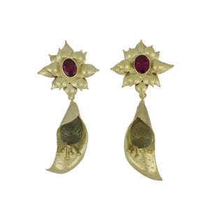 Estate 18K Gold Calla Lily Earrings with Lemon Citrine and Garnet