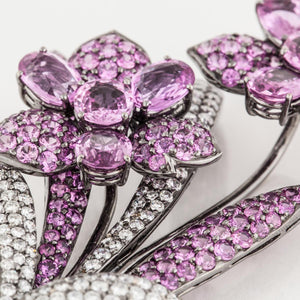 18K White Gold Pink Sapphire and Diamond Brooch