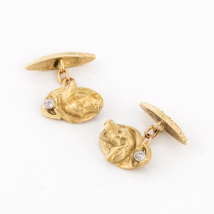 Estate 18K Gold Hound Dog Cufflinks
